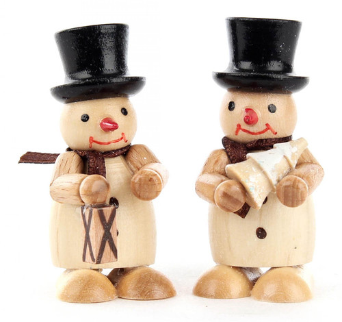 Natural Snowmen Pair Wooden Lantern Tree German Figurines FGD195X822
