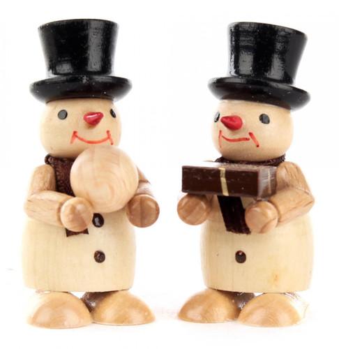 Natural Snowmen Pair Wooden Gift Snowball German Figurines FGD195X823