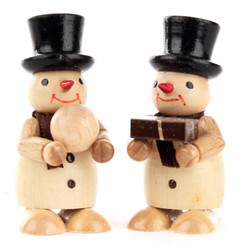 Natural Snowmen Pair Wooden Gift Snowball German Figurines FGD195X823