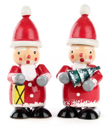 Pair Santa Wooden Lantern Tree German Figurines FGD195X824