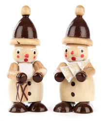 Natural Santa Pair Wooden Lantern Tree German Figurines FGD195X825