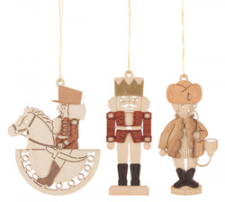 Set 3 Wooden German Christmas Motifs Ornaments ORD199X991