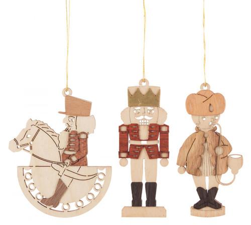 Set 3 Wooden German Christmas Motifs Ornaments ORD199X991