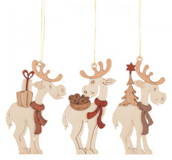 Set 3 Wooden German Christmas Reindeer Ornaments ORD199X992