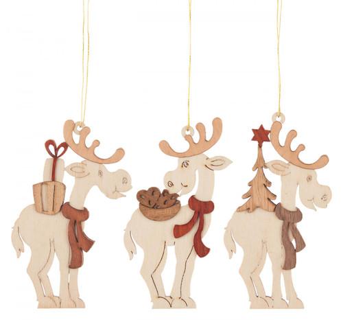 Set 3 Wooden German Christmas Reindeer Ornaments ORD199X992