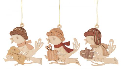 Set 3 Wooden German Christmas Birds Ornaments ORD199X993