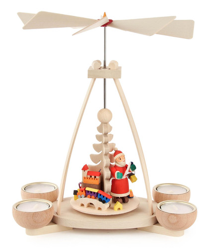 Santa Holiday Fun German Tea Light Pyramid PYD403X0193