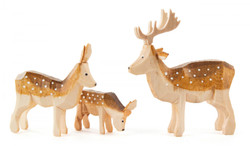 Wooden Reindeer German 2 inch Hand Carved Figurine 3 Piece Set FGD076X118