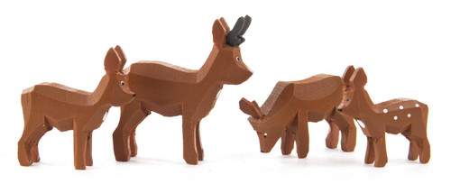 Brown Wooden Deer Family German 1 inch Hand Carved Figurines 4 Piece Set FGD076X119