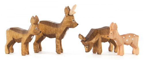 Wood Deer Family German 1 inch Hand Carved Stained Figurines 4 Piece Set FGD076X120