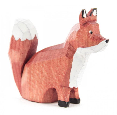 Fox Sitting German Hand Carved Miniature Figurine FGD076X117X1