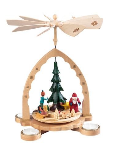 Santa Winter Kids German Carousel Pyramid PYR160X83