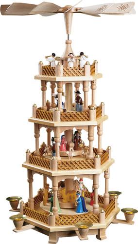 Nativity Christmas Pyramid Painted Figurines 4 Level PYR167X23