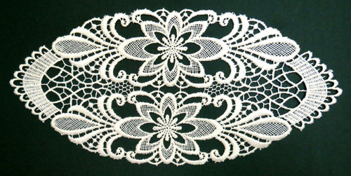 German Lace Oval Doily Freiburg 6x14 inches Table Topper LN10077-11
