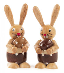 Pair Bunny Rabbit with Egg Natural Wood Figurines FGD224X738