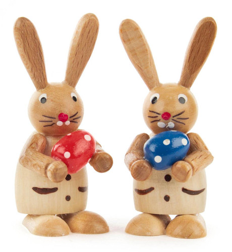 Pair Colorful Egg with Bunny Rabbit Natural Wood Figurines FGD224X739