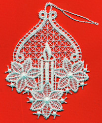 German Lace Christmas Candle Ornament LN-W15