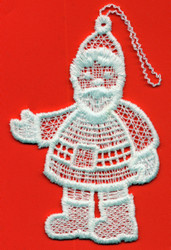German Lace Christmas Santa with Glove Ornament LN-W20
