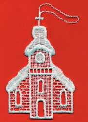 German Lace Christmas Seiffen Church Ornament LN-W22