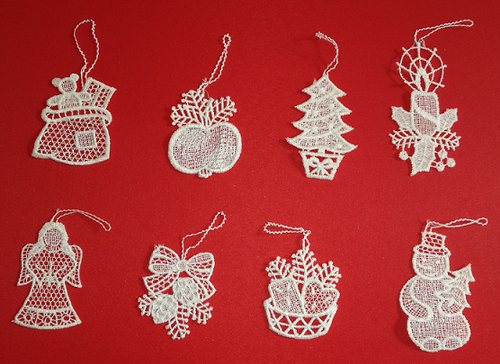 Eight German Lace Christmas Ornaments LN-BW4K