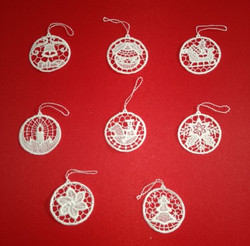 Eight German Lace Christmas Round Ornaments LN-BW6K