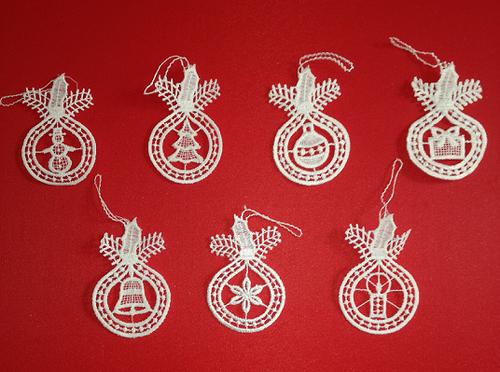 Seven German Lace Christmas Ornaments LN-BW5K