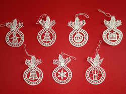 Seven German Lace Christmas Ornaments LN-BW5K