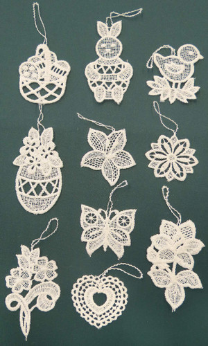TEN Lace Easter German Ornaments  LN-Bo5K