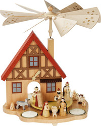 Nativity German House Tealight Carousel Pyramid PYR162X40