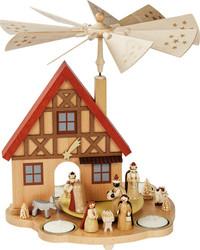 Nativity German House Tealight Carousel Pyramid PYR162X40
