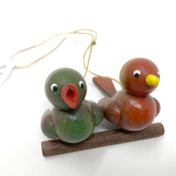 Pair Birds Red and Green Wooden German Ornament