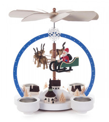 Colorful Flying Santa in Sleigh with Reindeer German Tea Light Pyramid 085X842