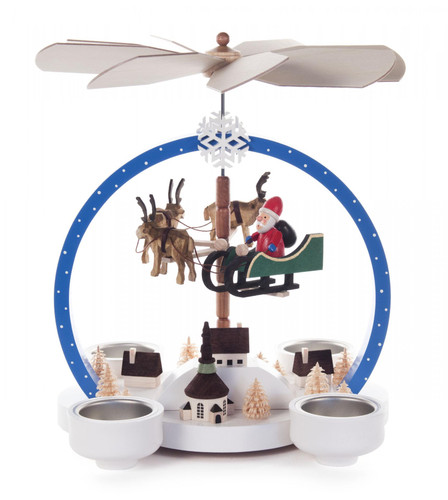 Colorful Flying Santa in Sleigh with Reindeer German Tea Light Pyramid 085X842