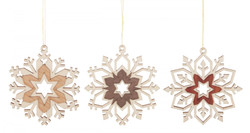 Set 3 Wooden Snowflakes German Christmas Ornaments ORD199X994