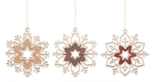 Set 3 Wooden Snowflakes German Christmas Ornaments ORD199X994
