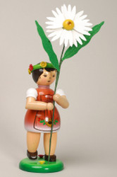Red Flower Girl Figurine