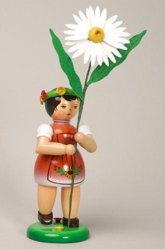 Red Flower Girl Figurine