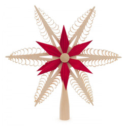 Christmas Tree Natural and Red German Topper Wooden Star ORD216X017