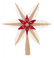 Natural with Red Accent German Christmas Tree Topper Wooden Star ORD216X018