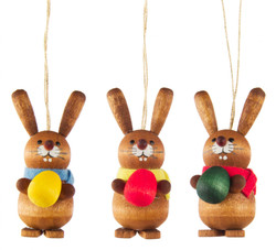 Set Three Bunny Rabbit Holding Egg German Ornaments ORD224X010