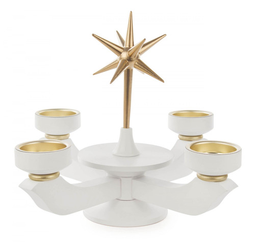 White Gold Accent TeaLight Advent Candleholder CHD201X050X7TL