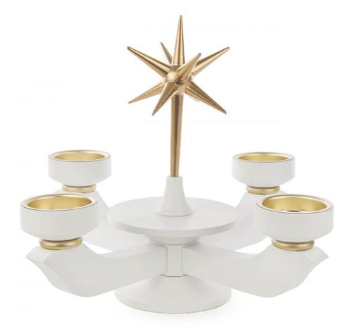 White Gold Accent TeaLight Advent Candleholder CHD201X050X7TL