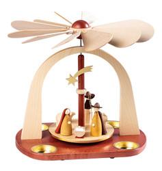 Christmas Modern Nativity Carousel German Tealight Pyramid PYR162X95