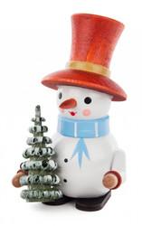 Snowman Wooden with Tree German Figurine FGD195X600