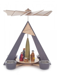Modern Gray Nativity German Tea Light Pyramid PYD085X885X3