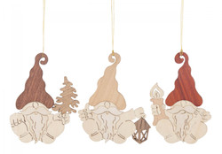 Set 3 Wooden German Christmas Gnome Ornaments ORD199X982X15