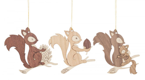 Set 3 Wooden Squirrel German Christmas Ornaments ORD199X982X14