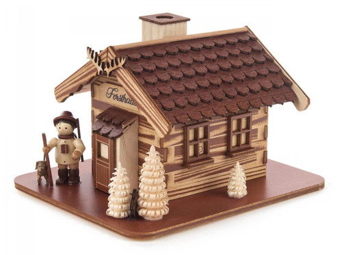 Forest Cabin Woodsman and Dog German Smoker SMD146X1861X1