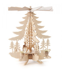 Tree Shaped Deer in Forest Scene German Candle Pyramid