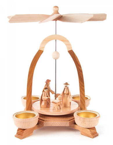 German Christmas Natural Sleek Nativity TeaLight Pyramid